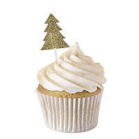 Gold Glitter Christmas Tree Cake Toppers 12 Pack