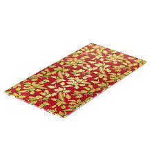 Holly Design Yule Log Cake Board - Red and Gold 12cm x 25cm