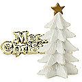 White Christmas Tree and Merry Christmas Cake Topper