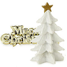 White Christmas Tree and Merry Christmas Cake Topper