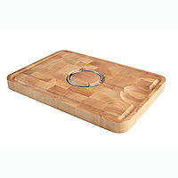 T&G Hevea Wood Carving Board with Reversible Spike Ring