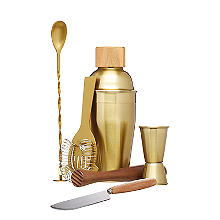 BarCraft 6 Piece Brass Finish Cocktail Set