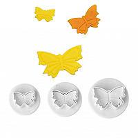 3 Mini-Fondantausstecher in Schmetterlingsform