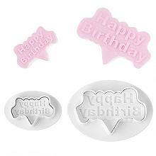 "2 Mini-Fondantausstecher ""Happy Birthday"""