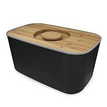 Joseph Joseph Steel Bread Bin Black with Bamboo Cutting Board Lid