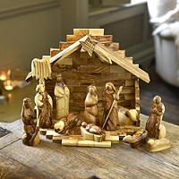 12-Piece Olive Wood Nativity Set