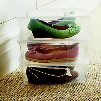 3 Stackable Clear Plastic Shoe Storage Boxes