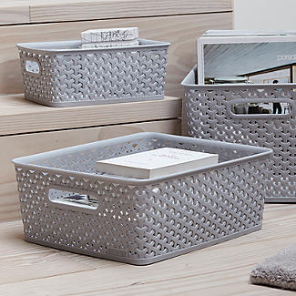 Faux Rattan Storage Baskets