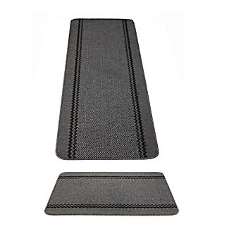 Charcoal Kitchen Runner and Mat