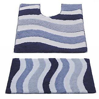 Blue Waves Bathroom Mats