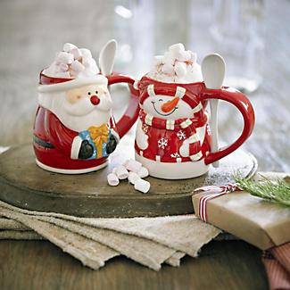 Christmas Mugs with Spoons