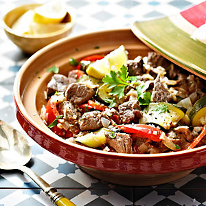 Summer Tagine of Lamb, Courgettes, Peppers and Mint