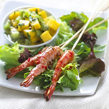 Skewered tiger prawns with lime & chilli marinade and salsa