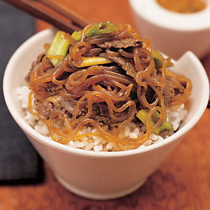 Sweet soy beef on rice