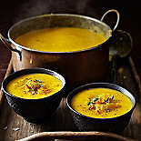 Roasted leek & yellow pepper soup by Liz Franklin