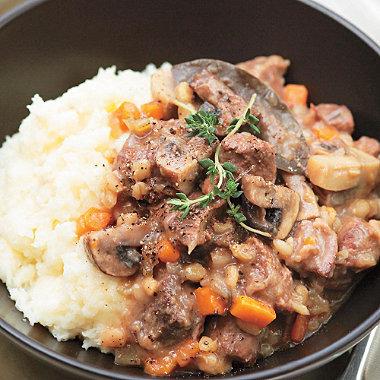 Lakeland recipe for Beef, barley & mushroom stew, happy cooking!