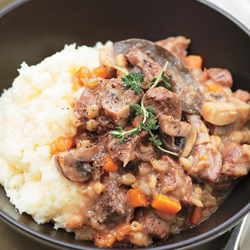 Beef, barley & mushroom stew in recipes at Lakeland