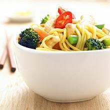 Lemon chicken noodles with spring vegetables