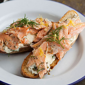 Hot smoked trout crostini