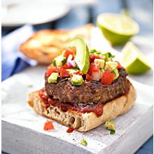 Classic Beef Burgers with Avocado & Tomato Salsa