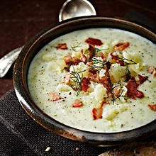 Cheddar and Potato Soup with Bacon