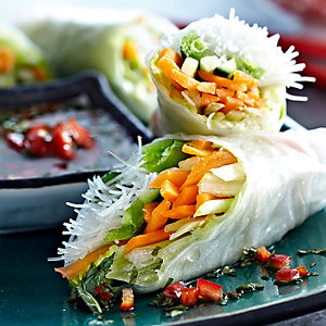 Fresh Spring Rolls with Chilli Mint Dip