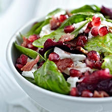 Jewelled Salad with Pomegranate, Crispy Bacon & Mozzarella