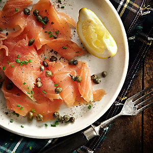 Smoked Salmon with Lemon and Capers