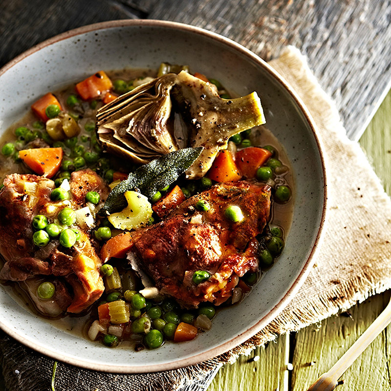 Lamb Stew with Artichoke and Peas