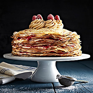 The Crepe Cake with Caramelised Biscuit Spread and Raspberries