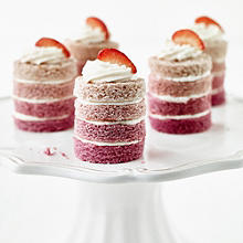 Mini Ombré Cakes with Vanilla Frosting