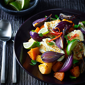 Halloumi Cheese Salad with Sweet Potatoes, Butternut Squash & Lime