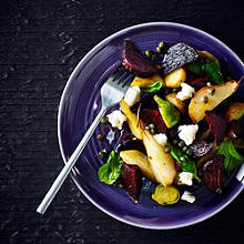 Roasted Vegetable and Goat's Cheese Salad with Caper Vinaigrette