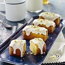 Lemon Polenta Mini Loaves With Yoghurt Frosting and Lemon Curd