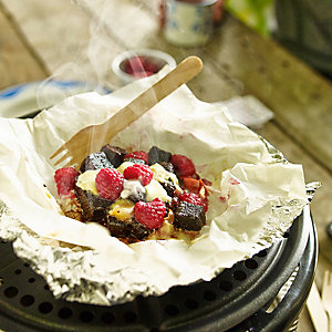 Chocolate Brownie, Raspberry & Marshmallow Parcels