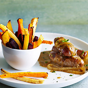 Sausages In Onion Gravy With Root Vegetable Chips