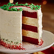 Red Velvet & White Chocolate Layer Cake With White Chocolate Ganache Frosting