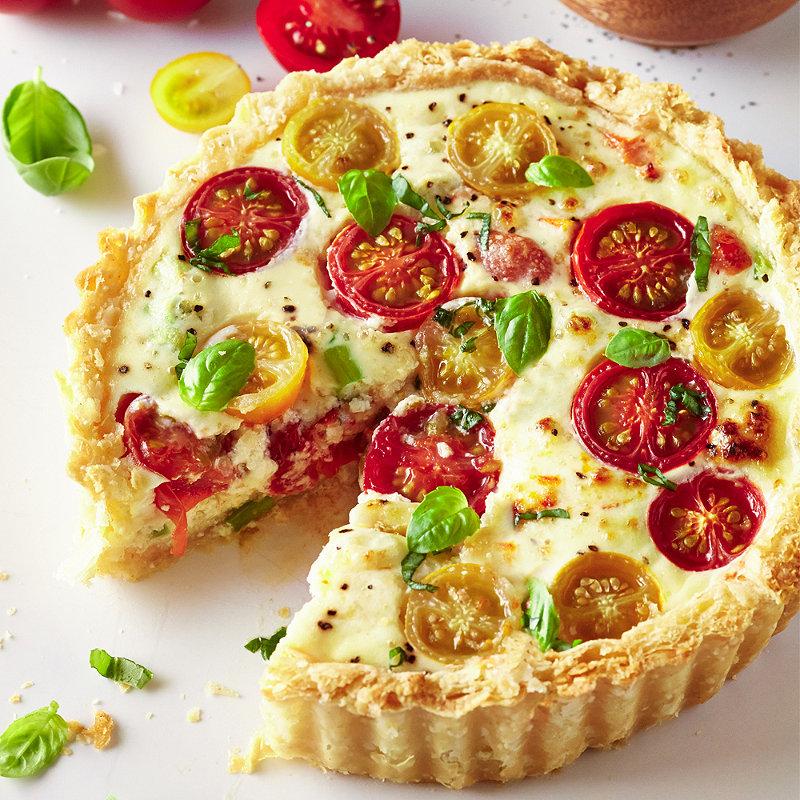 Homepage recipes Vegetarian recipes Ricotta With Basil & Tomato Tart