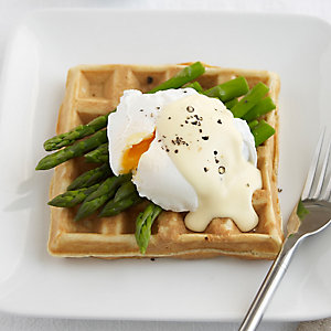 Savoury Waffles served with Poached Egg, Asparagus and Hollandaise Sauce