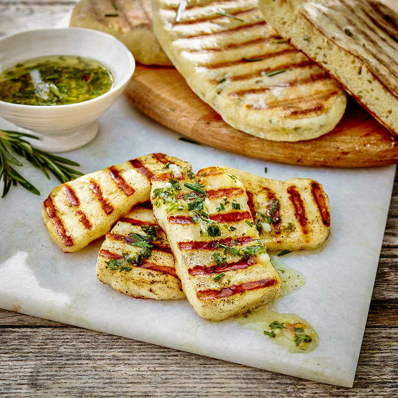 Rosemary Flatbreads With Halloumi & Lemon Dressing in Barbecue recipes ...