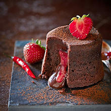 Spiced Chocolate Fondant Puddings With Strawberry & Thyme Filling