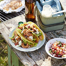 Barbecued Brazilian Shrimp Tacos with Pineapple Salsa and Mango & Lime Dressing