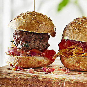 Beef Sliders with Oven-Roasted Tomato Salsa