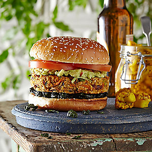 Sirt Food Burger with Kale Crisps and Pickled Cauliflower Florets