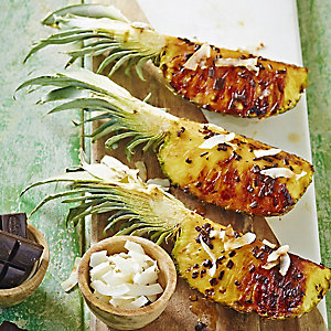 Barbecued Pineapple Wedges with Coconut and Chocolate