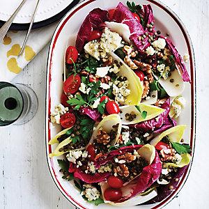 Puy lentil, gorgonzola & chicory salad