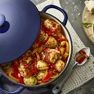 piri piri chicken with roasted new potatoes and peppers