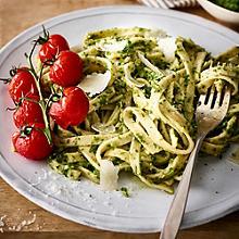 Gluten-Free Fresh Tagliatelle with Kale Pesto & Roasted Tomatoes