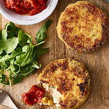 Smoked Haddock, Sweetcorn & Chilli Fishcakes with Spicy Tomato Sauce