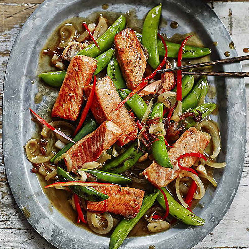 school of wok's salmon bites in xo onion sauce